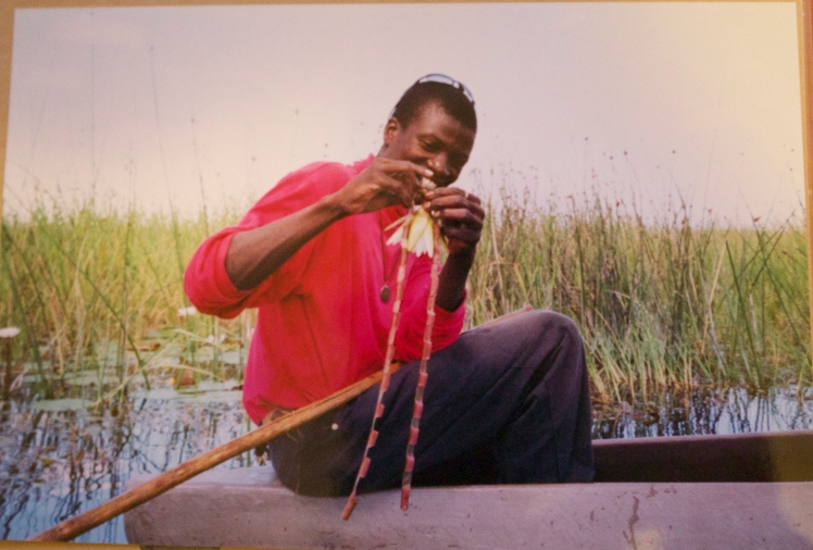 Our guide on the Moroccros in the Okavango Delta. He made us these necklaces.