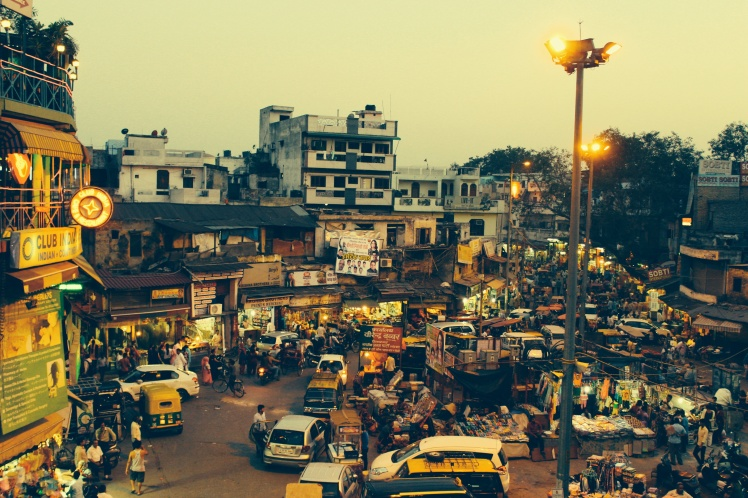 Overlooking the main bazaar, Paharhganj.