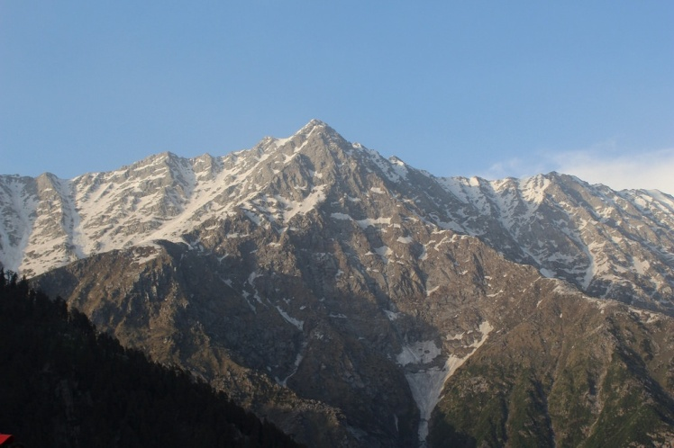 View of  Dhauladhar mountain range from the top of Triund Hill.