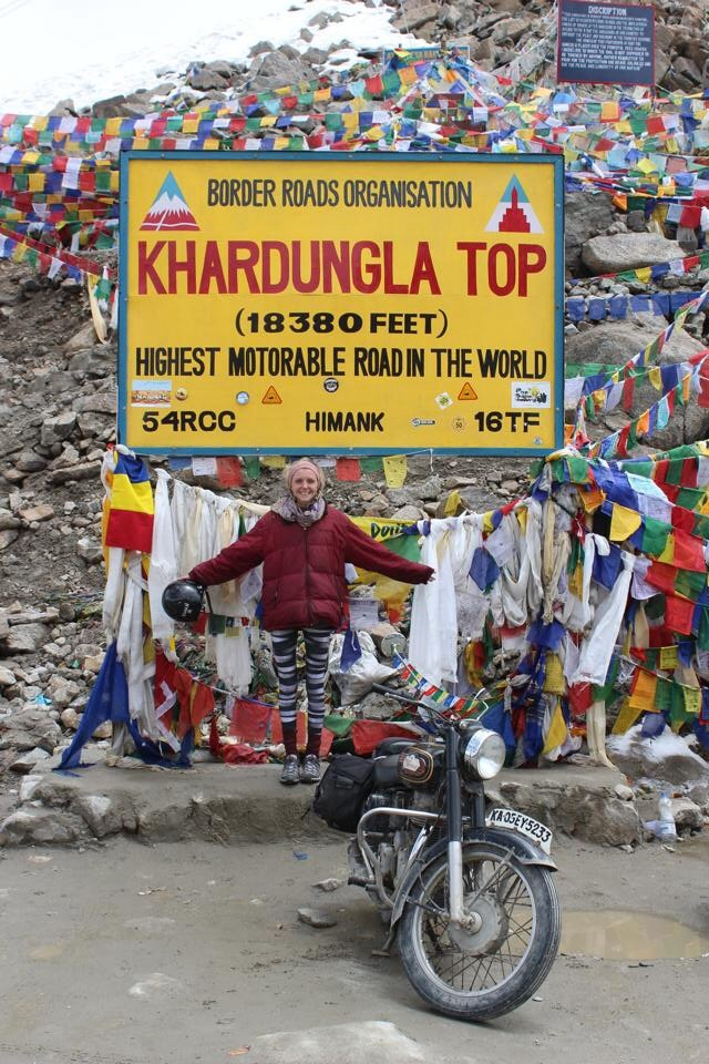 Cat, at the top! But this really isn't the highest motorable road in the world...