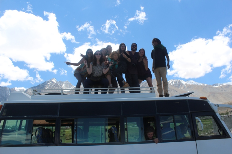 Packed out mini-bus on a two-day road-trip to Pangong Lake, Leh, Ladakh, India.