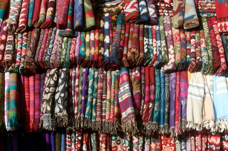 Blankets sold on the streets of Kathmandu, Nepal